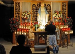 Catholic Praying To Mary Statue